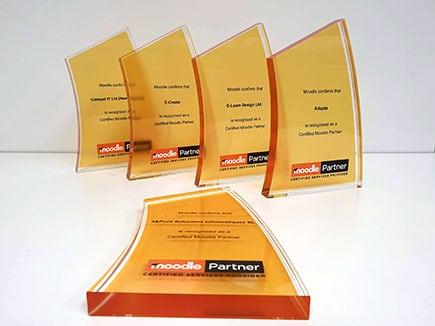 Trofeo conmemorativo en metacrilato con colores corporativos y personalización