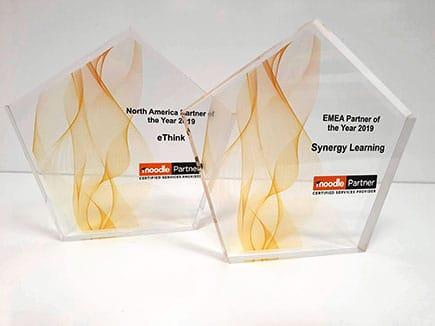 Premios empresariales en metacrilato con impresión digital personalizada con el nombre de la empresa galardonada