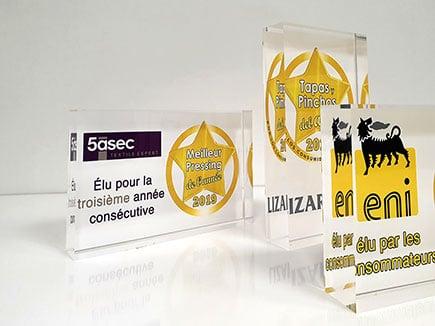 Premios y reconocimientos en metacrilato con impresión digital directa