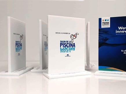 Trofeos en metacrilato blanco para Salón de la Piscina celebrado en Barcelona 2019