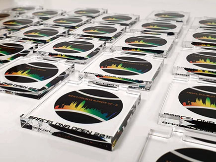 Medallas de metacrilato incoloro con impresión digital directa para Barcelona Open 2019